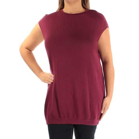 ALFANI Womens Burgundy Sleeveless Jewel Neck Sweater Size: XL