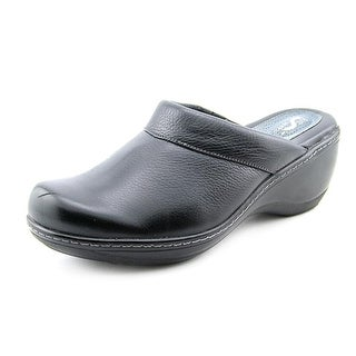Softwalk Murietta Women Round Toe Leather Black Clogs