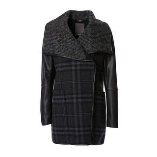 Vera 'Olivia' Faux-Leather-Sleeve Textured Plaid Coat