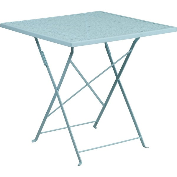 Westbury Square 28'' Sky Blue Steel Folding Table for Indoor/Outdoor/Patio/Bar/Restaurant