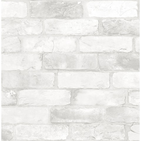Brewster NU2218 Loft White Brick 30 3/4 Square Foot Coverage Faux Brick Self-Adhesive Vinyl Wallpaper