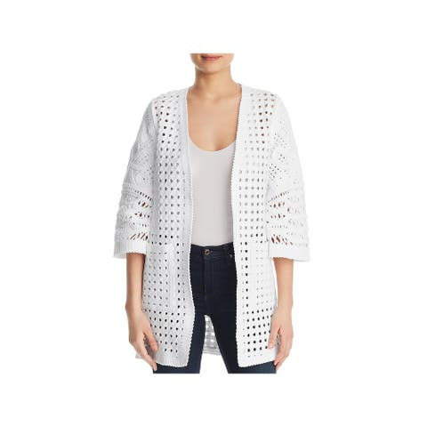 Kobi Halperin Womens Jillian Cardigan Sweater Basket Weave Open Front - White