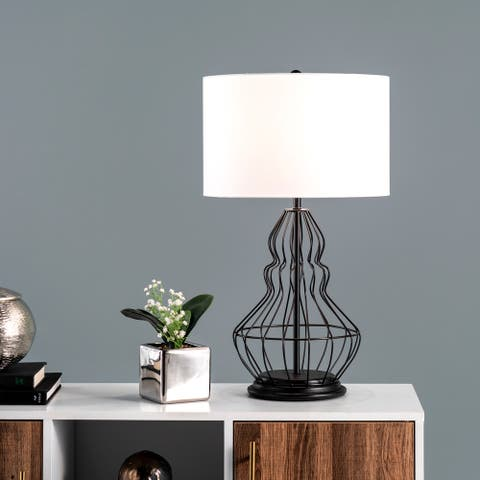 """nuLOOM Porter 25"""" Iron Table Lamp - 14""""W x 14""""D x 25""""H"""