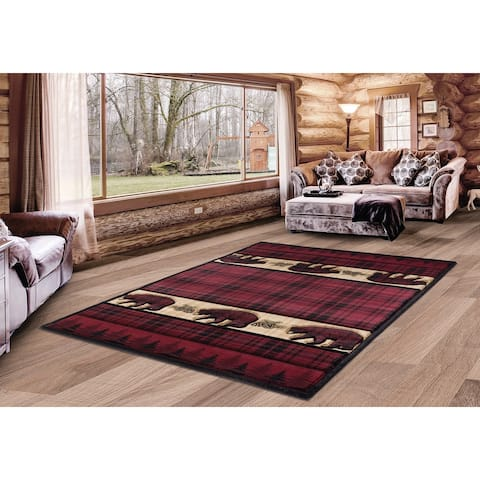 Westfield Home Graham Grizzly Way Burgundy Hand-Carved Area Rug