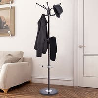 Costway 67'' Metal Coat Hat Jacket Stand Tree Umbrella Holder Hanger Rack W/ Marble Base - Brown