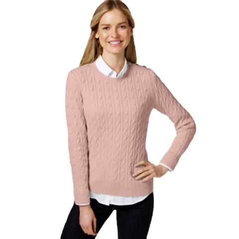 Charter Club Women's Petite Strawberry Pink Crewneck Sweater (P/L) - P/L