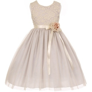 Flower Girl Dress Lace Two Tone Satin Ribbon Silver CC 1142