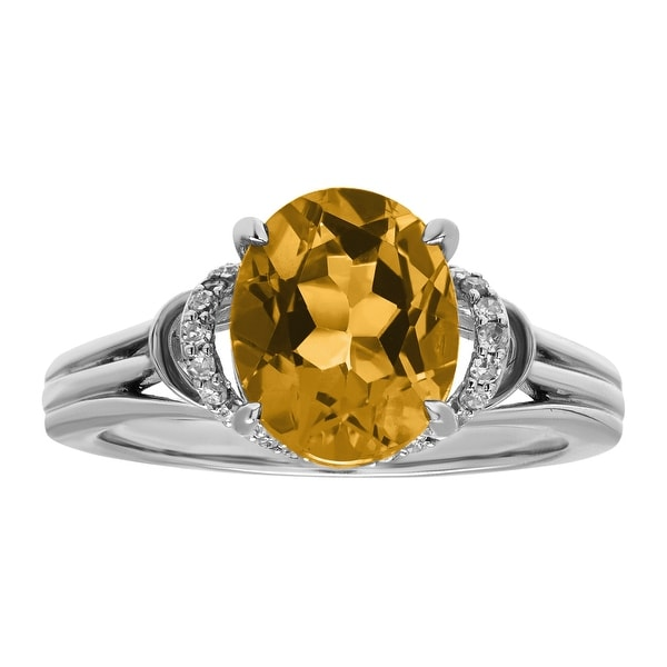 2 1/5 ct Natural Citrine & 1/8 ct Diamond Ring in Sterling Silver
