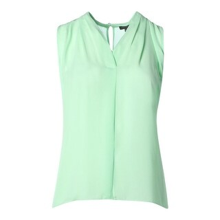 Vince Camuto Womens Plus Pleated Sleeveless Blouse