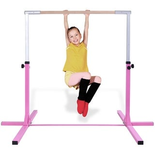 Goplus Adjustable Steel Horizontal Training Bar Gymnastics Junior Home Practice - Pink