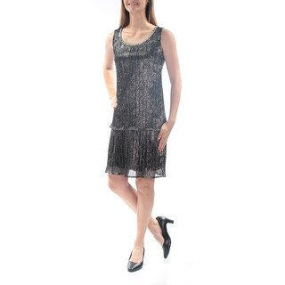 Womens Silver Sleeveless Above The Knee Shift Formal Dress Size: 4