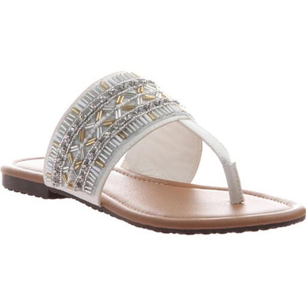 Shop Madeline Women S Blonde Thong Sandal White Synthetic