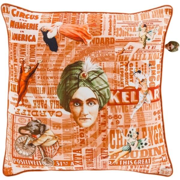 "22"" Flame and Goldfish Orange Circus Decorative Novelty Throw Pillow- Down Filler"