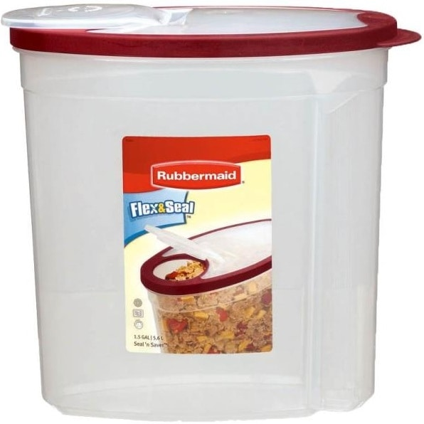 Rubbermaid 1777195 Flex & Seal Food Canister, 1.5-Gallon, Red
