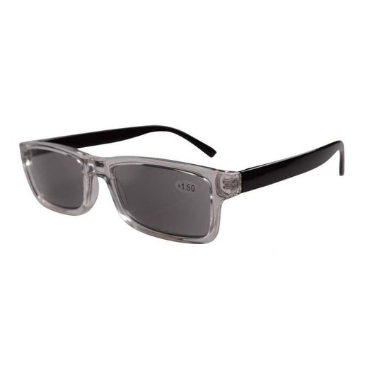 Eyekepper Clear Plastic Frame Black Arms Grey Tinted Readers Reading Glasses W/case +2.00