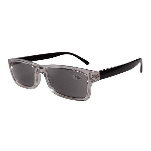 Eyekepper Clear Plastic Frame Black Arms Grey Tinted Readers Reading Glasses W/case +2.25