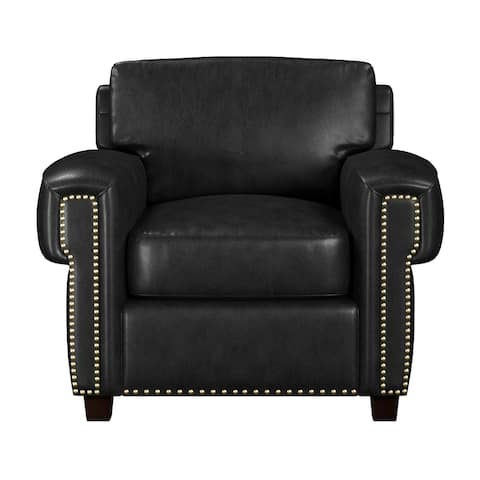 Made to Order Como 100% Top Grain Black Leather Chair