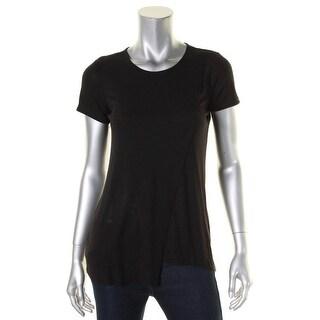 Kensie Womens T-Shirt Asymmetric Ribbed Knit - xs