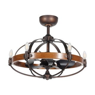 Industrial Reversible 3-Blades Wood Ceiling Fan with 6-Light