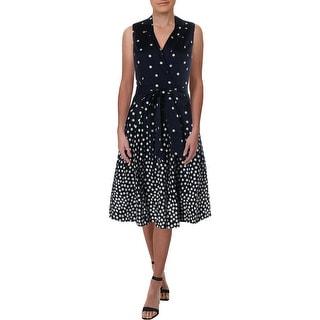 Anne Klein Womens Shirtdress Surplice Tie-Waist