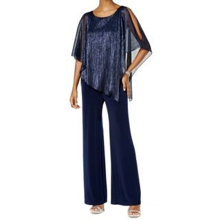 Connected Apparel NEW Navy Blue Womens Size 6 Metallic-Cape Jumpsuit