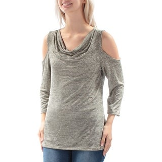 Womens Gold 3/4 Sleeve Cowl Neck Top Size S
