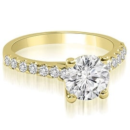1.30 cttw. 14K Yellow Gold Cathedral Round Cut Diamond Engagement Ring