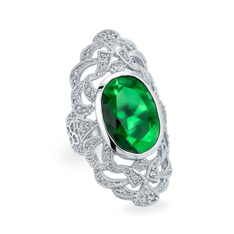Vintage Style Filigree Green Oval Cubic Zirconia Long Full Finger Cocktail Ring Imitation Emerald CZ Silver Plated Brass