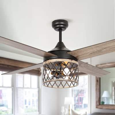 """Black/Wood Grain 52"""" 3-Light Ceiling Fan with Open Metal Frame - 52""""L x 52""""W x 19.3""""H"""