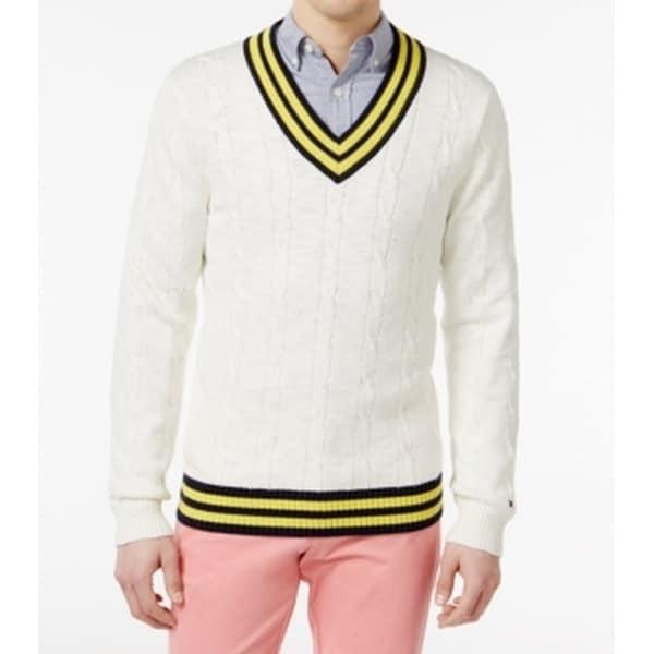 Shop Tommy Hilfiger New White Ivory Men Xl Cable Knit Cricket V Neck