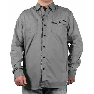 MO7 Men's Camo Trim Long Sleeve Woven Shirt