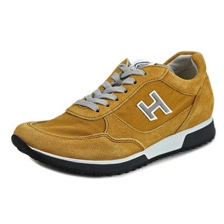 Hogan H198 N.Mod.Sport.H Flock Youth Round Toe Suede Yellow Sneakers