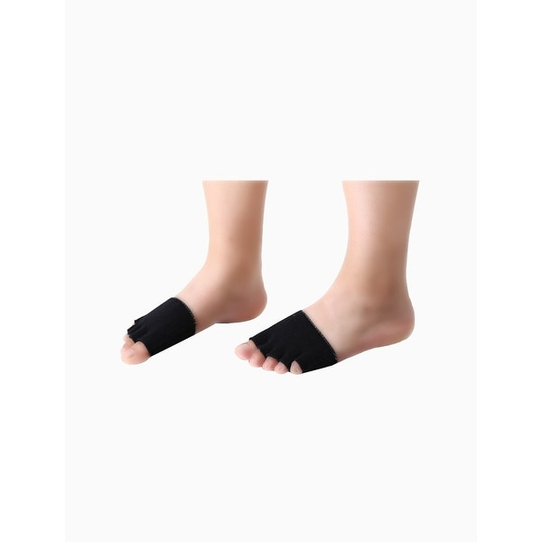 b187a7e15fc Shop Women Size Free Cotton No Show Half Toe Socks 5 Pairs Black ...