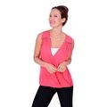 Simply Ravishing Women's Sheer Low V Neck Sleeveless Layered Chiffon Blouse Tank Top - Thumbnail 4