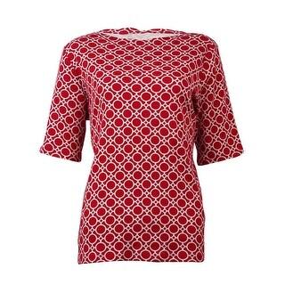 Charter Club Women's Pattern-Print Boat Neck Cotton Top - crimson combo - m