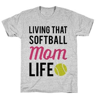Living That Softball Mom Life Athletic Gray Men's Cotton Tee by LookHUMAN