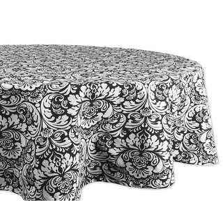"""70"""" Charcoal Black and Gray Floral Damask Pattern Round Table Cloth"""