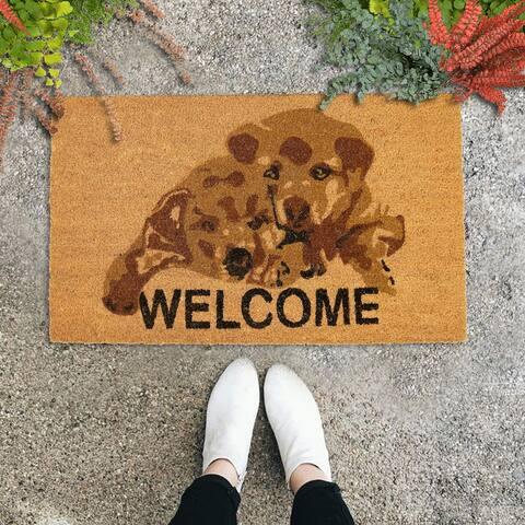 "Natural Coir Doormat Cute Puppies (30"" X 18"")"