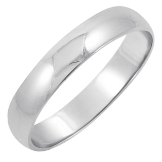 Men's 14K White Gold 4mm Traditional Plain Wedding Band (Available Ring Sizes 8-12 1/2)