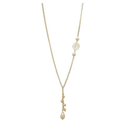 "Bronzoro 18 k Gold Overlay 26"" Rolo Link Lariet Beads Necklace"
