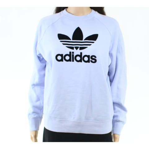 Adidas Women's Sweater Sky Blue Size Medium M Pullover Logo-Print