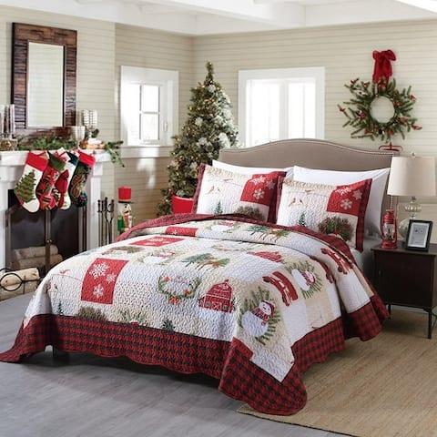 MarCielo 3-piece Christmas Quilt Set Bedspread Set
