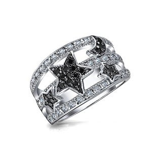 Bling Jewelry Stars and Moon Black Pave CZ Astrology Cocktail Ring