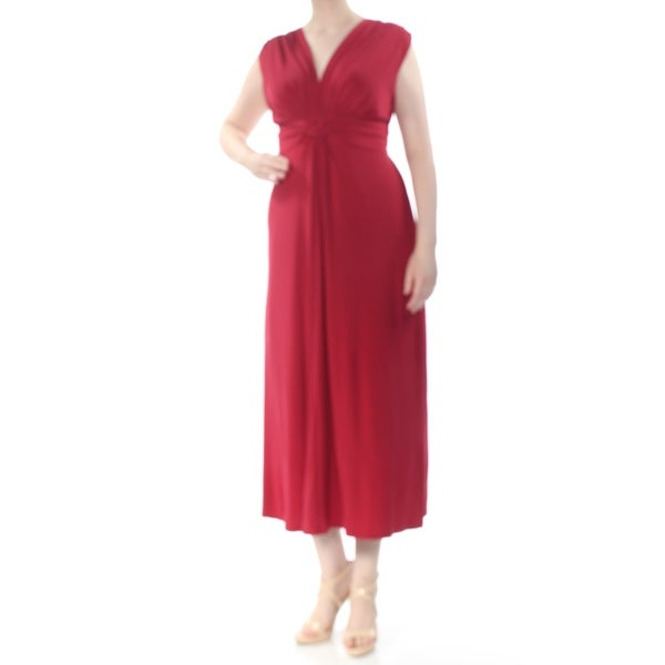 LOVE SQUARED Womens Maroon Jersey Knot Front Sleeveless V Neck Maxi Cocktail Dress Plus Size: 2X