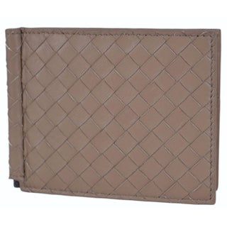 Bottega Veneta Men's 390877 Woven Leather Bifold Wallet with Bill Clamp