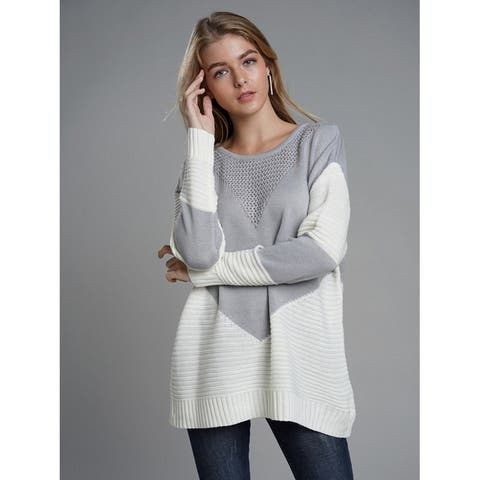 Dazzles Gray Patchwork Knitted Sweater Round Collar Slim Fit