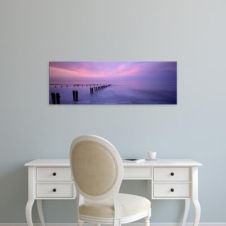 Easy Art Prints Panoramic Images's 'Wooden Posts In Water, Sandsend, Yorkshire, England, United Kingdom' Canvas Art