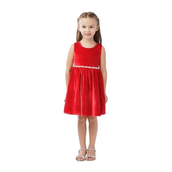 259839f5370e6 Girls Red Velvet Rhinestone Accented Holiday Junior Bridesmaid Dress
