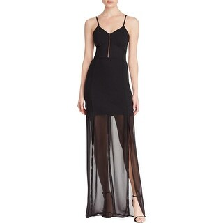 French Connection Womens Chantilly Maxi Dress Mesh Inset Sheer