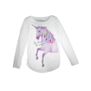 Girl's Unicorn Message Shirred Sideseam LS Tee - Unicorn Message/White - Size - M